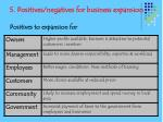 5 positives negatives for business expansion