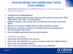 how ecobank has addressed these challenges