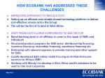 how ecobank has addressed these challenges1