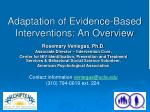 adaptation of evidence based interventions an overview