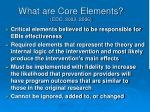 what are core elements cdc 2003 2006