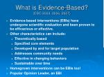 what is evidence based cdc 2003 2006 2007