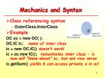 mechanics and syntax