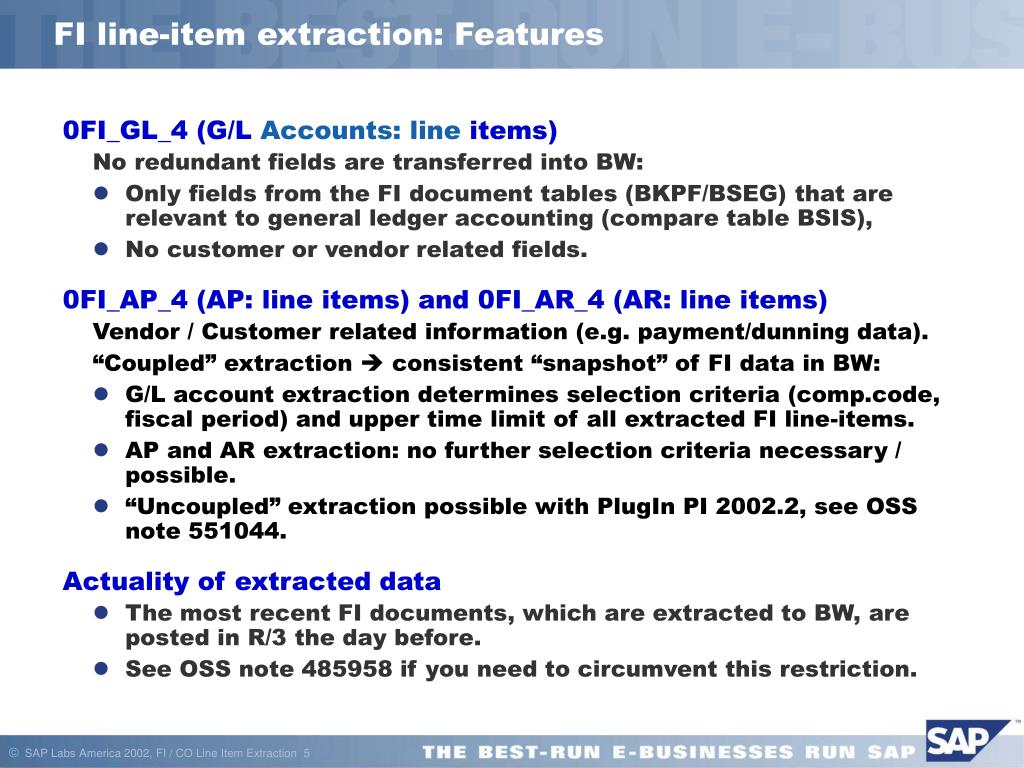 PPT - Data Extraction (Line Item Level) FI/CO (Financial