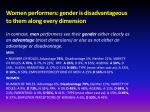 women performers gender is disadvantageous to them along every dimension