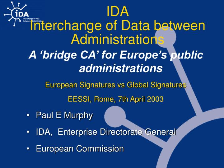 ida interchange of data between administrations n.