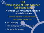 ida interchange of data between administrations
