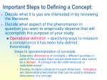 important steps to defining a concept