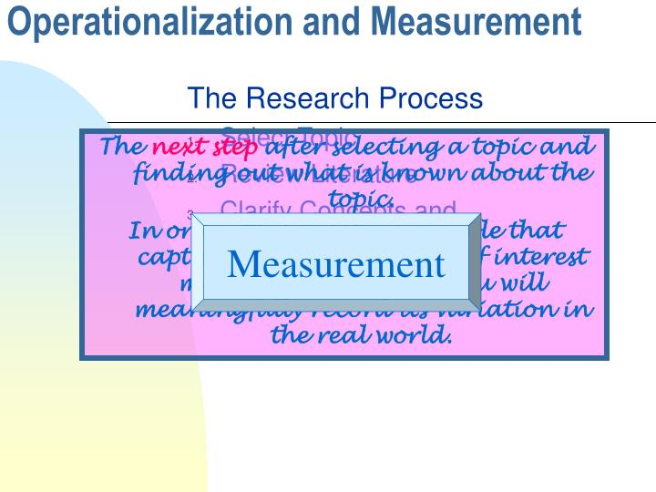 operationalization and measurement n.