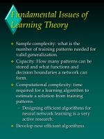 fundamental issues of learning theory