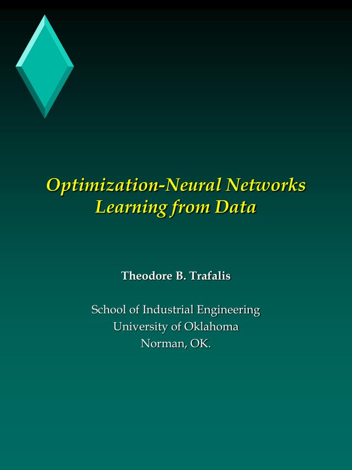 optimization neural networks learning from data n.