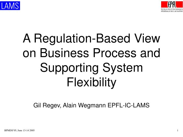 a regulation based view on business process and supporting system flexibility n.