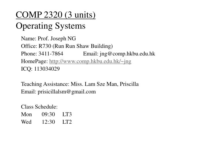 comp 2320 3 units operating systems n.