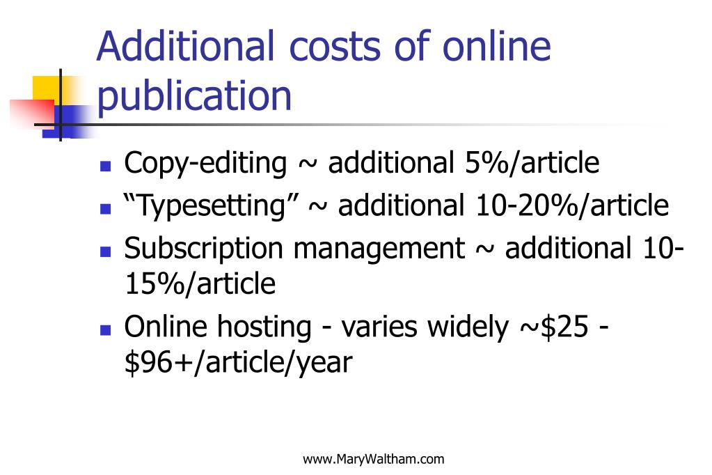 Additional costs of online publication
