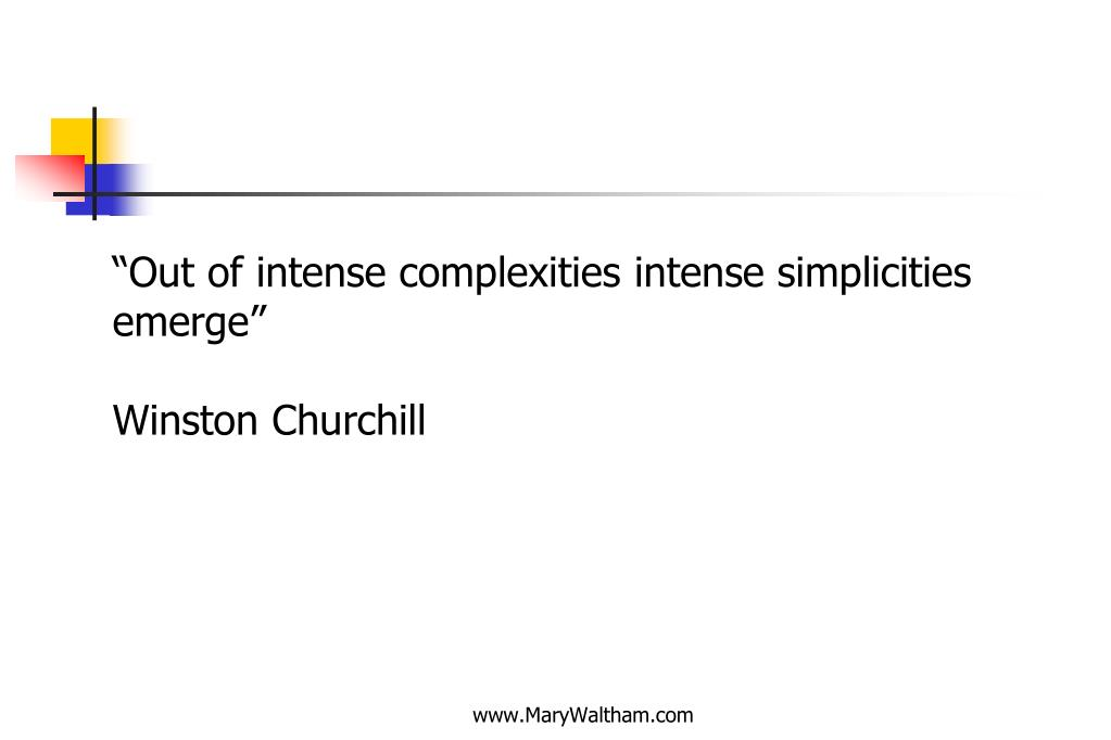 """""""Out of intense complexities intense simplicities"""
