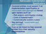 addressable implementation specifications