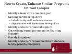 how to create enhance similar programs on your campus