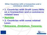 other countries with e transaction and e commerce related laws
