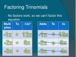 factoring trinomials49