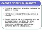 carnet de suivi du diabete
