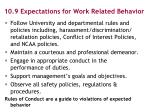 10 9 expectations for work related behavior1