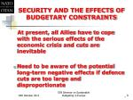 security and the effects of budgetary constraints1