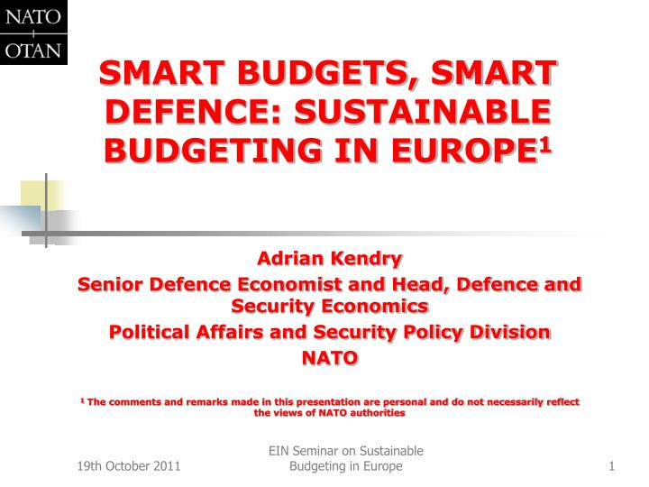 smart budgets smart defence sustainable budgeting in europe 1 n.