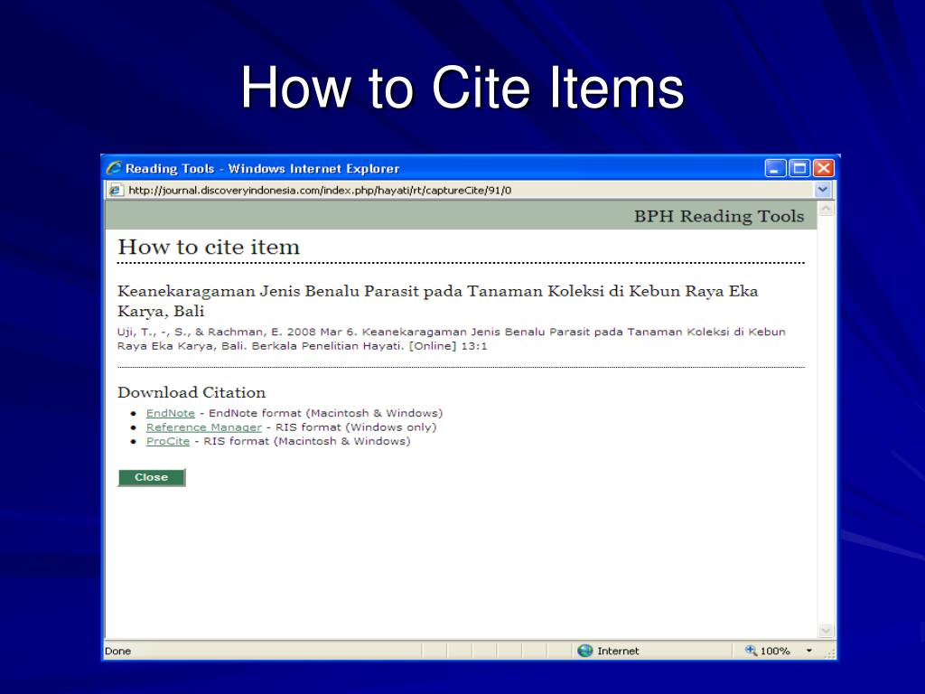 How to Cite Items