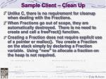 sample client clean up