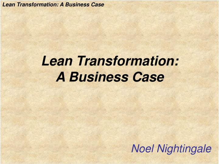 lean transformation a business case n.