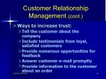 customer relationship management cont92
