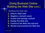 doing business online building the web site cont27