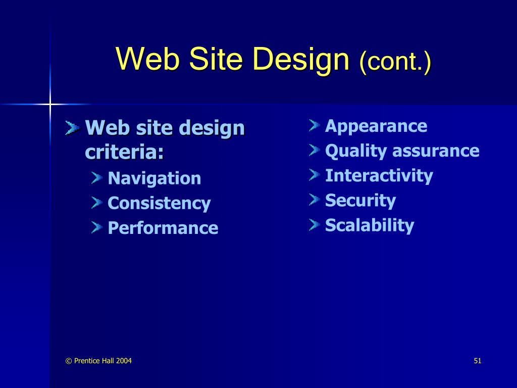 Web site design criteria: