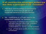 in all countries less advantaged workers are less likely to participate in ss exclusion