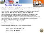 agenda changes
