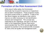 formation of the risk assessment unit