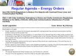 regular agenda energy orders