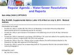 regular agenda water sewer resolutions and reports1
