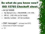so what do you know now iso 15765 checkoff sheet