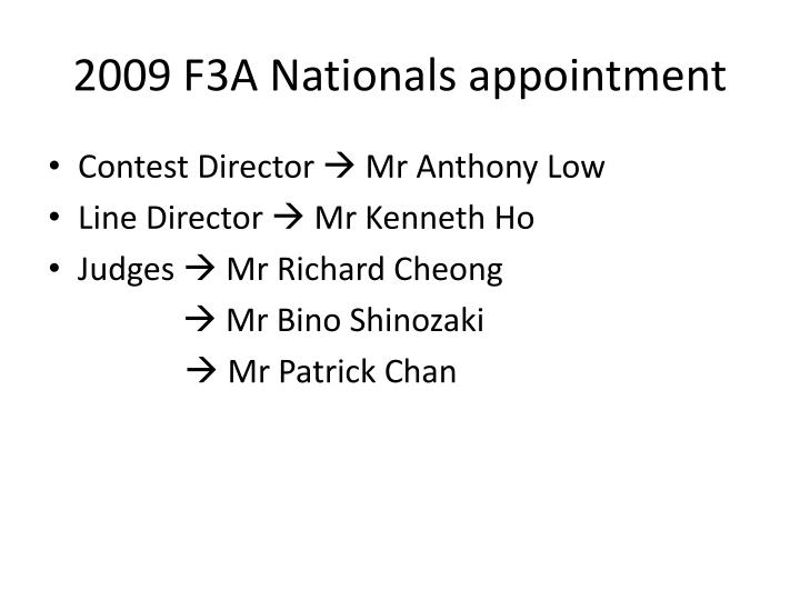 2009 f3a nationals appointment n.