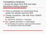 competitive analysis arrays for real time pcr and high resolution melting analysis