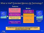what is intel e xtended m emory 64 t echnology