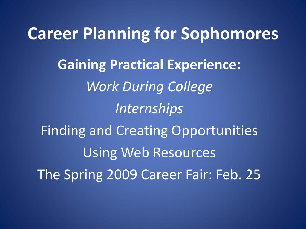career planning for sophomores l.