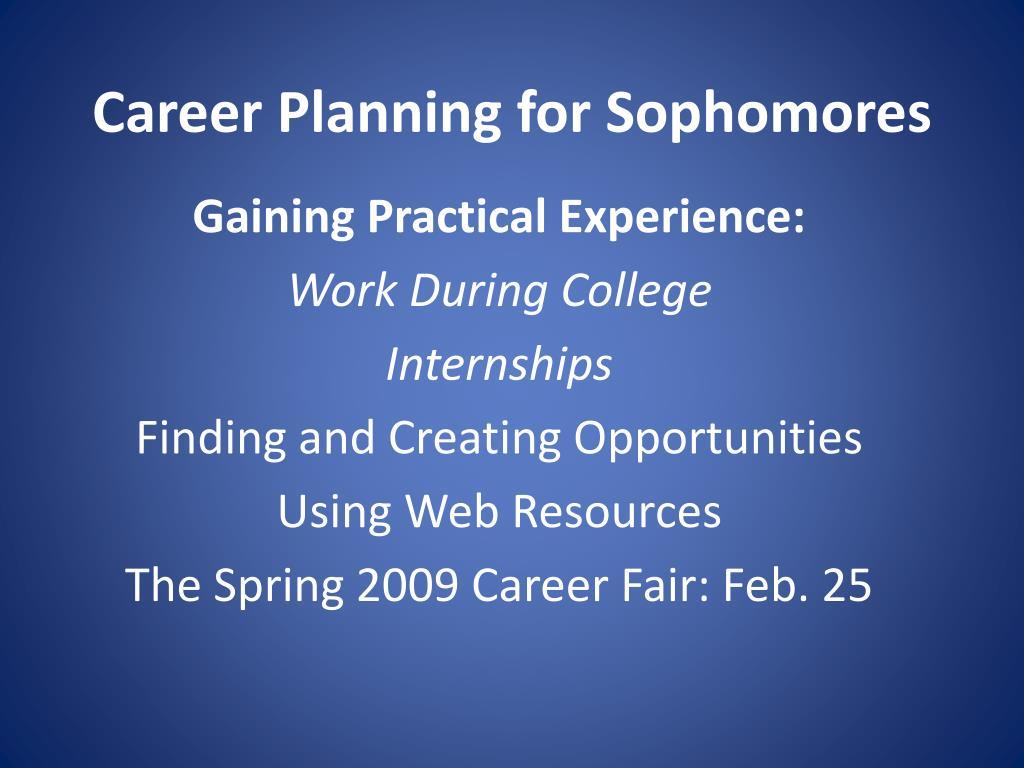 Career Planning for Sophomores