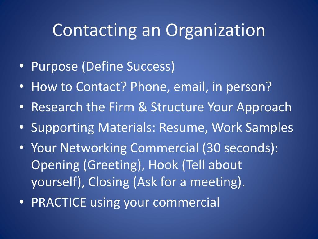 Contacting an Organization