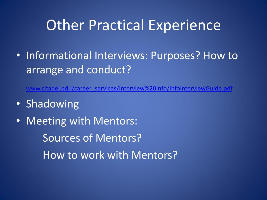 Other Practical Experience