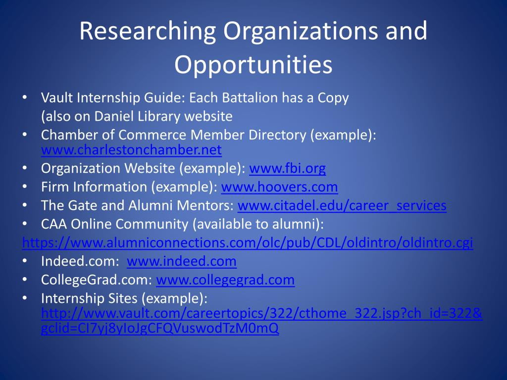 Researching Organizations and Opportunities