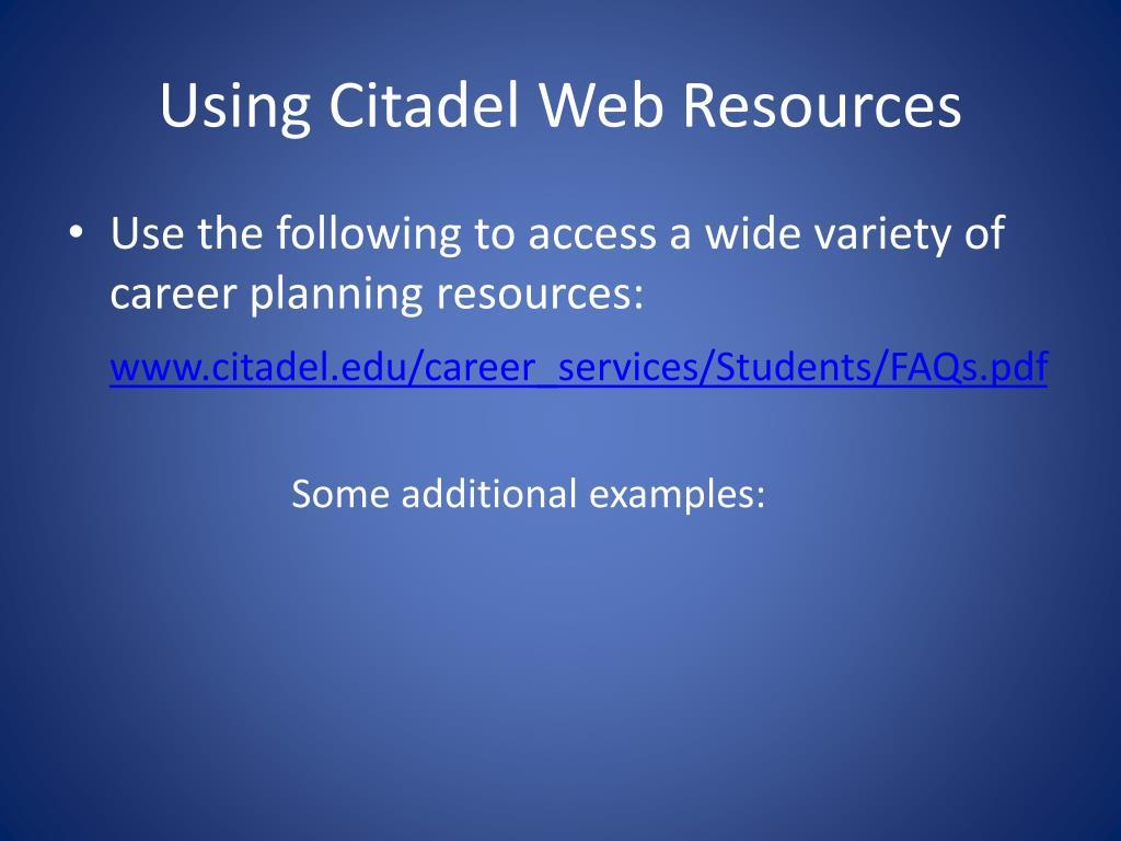 Using Citadel Web Resources