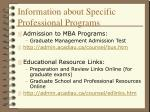 information about specific professional programs29