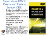 report about hcv in central and eastern europe cee